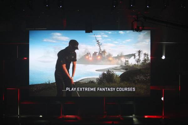 A scene from PGA Tour 15 is shown at the EA World Premiere: E3 2014 Preview press conference.