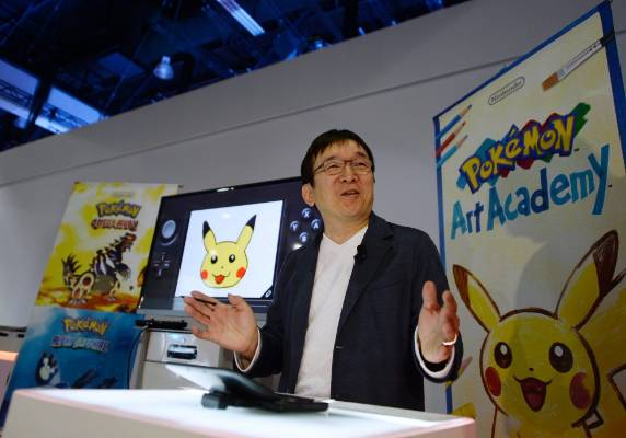 Tsunekazu Ishihara, president and chief executive officer of The Pokemon Company  introduces the new Pokemon Art Academy ...