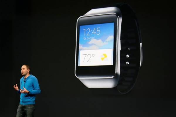 David Singleton, director of engineering for Android, announces the new Samsung Android Wear smartwatch at the Google ...