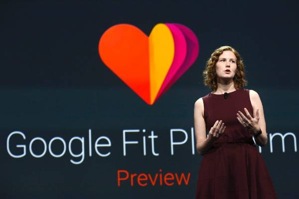 Ellie Powers, Product Manager for Google Play, announces the new Google Fit development platform at the Google I/O ...