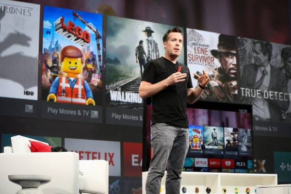 Dave Burke, director of engineering for Android, announces the Google TV at the Google I/O developers conference in San ...