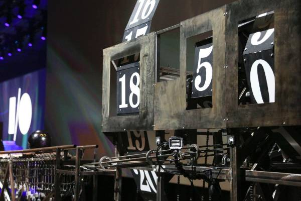 A Rube Goldberg inspired machine counts down the time until the start of the Google I/O developers conference.