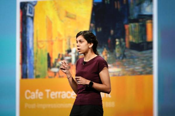 Avni Shah, director of product management for Google Chrome, speaks during her keynote address at the Google I/O ...