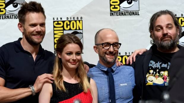 SIX SEASONS AND A MOVIE: Stars Joel McHale, Gillian Jacobs, Jim Rash and writer/producer Dan Harmon attend the Community ...