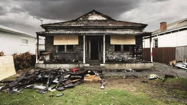 Image result for fire damaged house