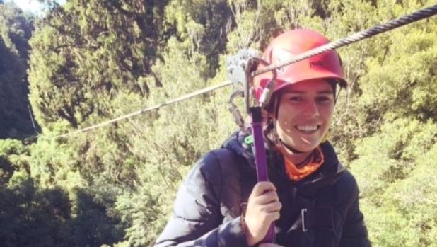 About to embark the longest zipline of the tour, 222 metres across native forest. With my nervous smile.