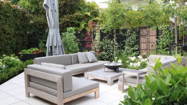 Finding furniture for a small courtyard is tricky. Choose furniture that can be adapted - these couches can be pushed ...